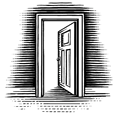 Illustration of an open door.