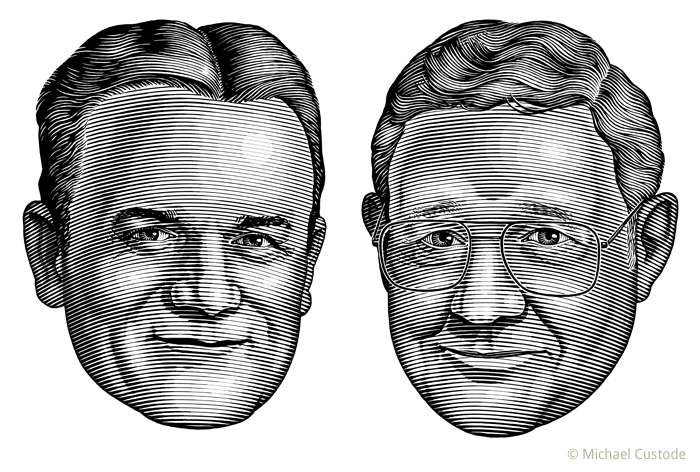 Illustration of sportswriters Jim Burchard and Bill Brennan.