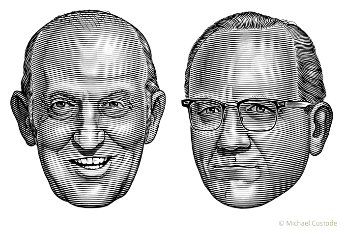 Illustration of sportswriters Dink Carroll and Jim Coleman.