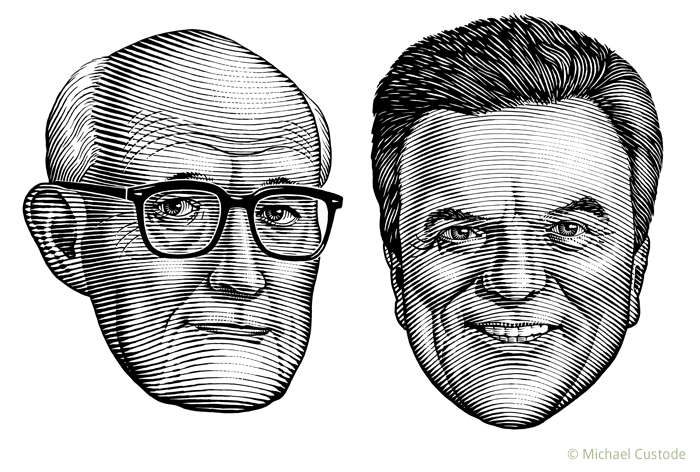 illustration of sportswriter Milt Dunnell and sportscaster Marc de Foy.