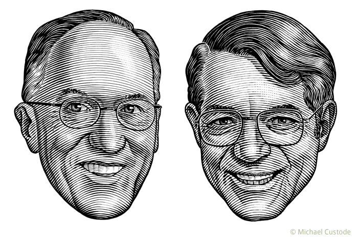 "illustration of sportscasters Mike ""Doc"" Emrick and Howie Meeker."