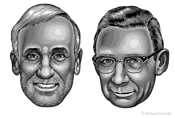 Illustration of sportswriters Michael Farber and Jack Dulmage