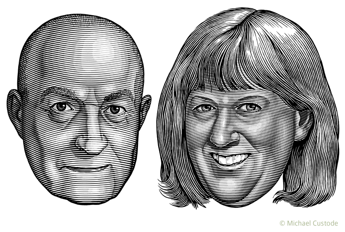 Illustration of sportswriters Basil O'Meara and Helene Elliott