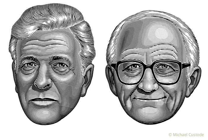 Illustration of sportswriters Leo Monahan and Red Fisher.