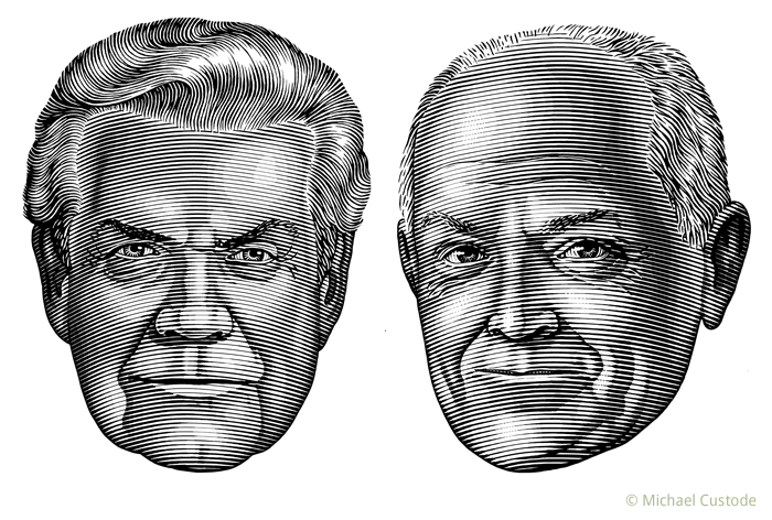 Illustration of sportswriters Scott Young and Roy MacGregor.