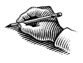 Illustration of a hand drawing with a pencil.