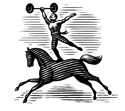Illustration of a circus performer holding a barbell while balancing on one foot on the back of a galloping horse.