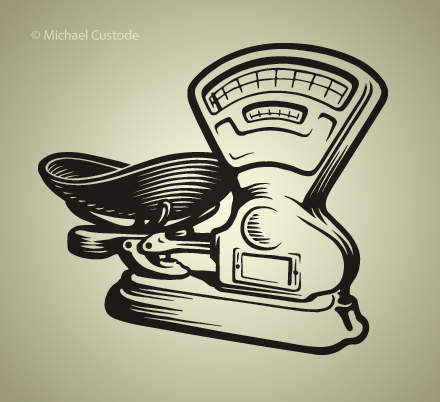Illustration of old-fashioned country store weigh scale.